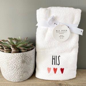 "NWT Rae Dunn White ""His""Hand Towels Set of 2"